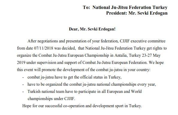 2019 Combat JuJutsu Avrupa Şampiyonası organizasyonu Ulusal JuJitsu Federasyonuna verildi.